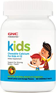 GNC Milestones Kids Chewable Calcium, 60 Tablets, Supports Strong, Healthy Bones and Teeth
