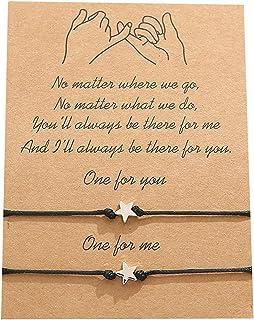 AILUOR Pulseras de amistad con girasol, de 2 piezas, ideal como regalo de cumpleaños para parejas, hermanas, madres, hija...