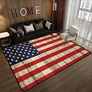 Carpet Flooring,American Flag USA,Independence Day Concept and Damaged Wooden Fence with USA Flag Pattern,Red Blue 47