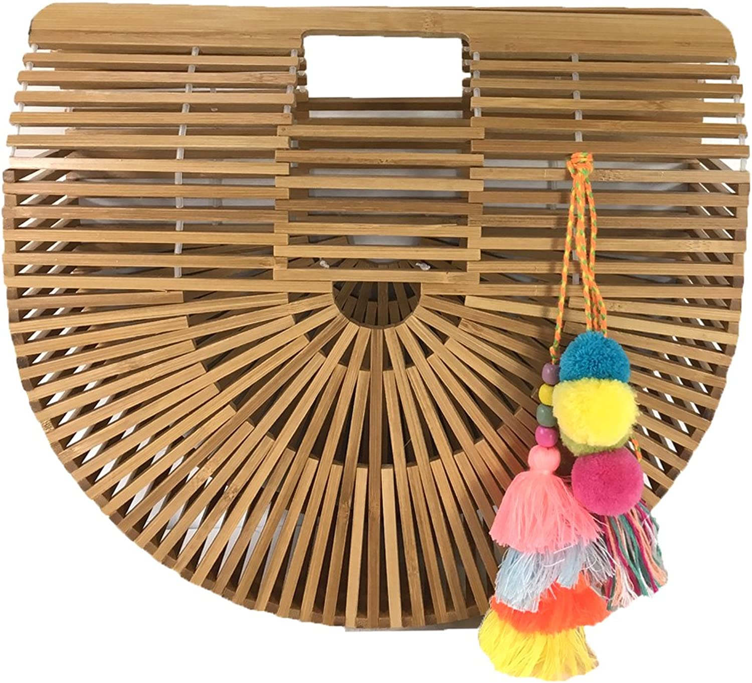 bluee Island Arc Large Bamboo Clutch Tassels, Natural Multi