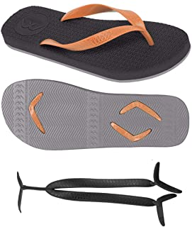 Boomerangz Regular Fit Flip Flops (Men's) Colour: Black/Grey + Interchangeable Straps (Additional) [Combo Offer]