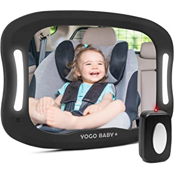 Baby Car Mirror with Remote Control Soft Led Light Shatter-Proof Acrylic Baby Mirror for Car, Rearview Baby Mirror-Easily Observe Baby's Every Move, Safety and 360 Degree Adjustability…