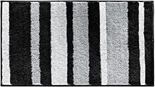 iDesign Microfiber Polyester Stripes Bath Mat, Non-Slip Shower Accent Rug for Master, Guest, and Kids' Bathroom, 21