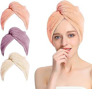 Luoistu Asciugamano Capelli a Turbante Capelli asciutti Asciugamani 2 Pezz in Microfibra Adatto a Capelli Lunghi e Capelli Corti Rapida Super Assorbenti Towel Rosa Marrone