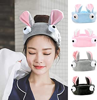 Women's bunny Ear Headband - VANZAVANZU Best Fashionable Cute Fluffy Elastic Makeup Headband Hairband for Shower, Face Washing, Facial Mask, Spa, Cosplay, Party (bunny headband 4colors)