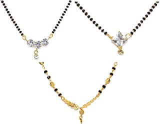 Frolics India Combo of 3 Golden and American Diamond Black Beads Chain Mangalsutra For Women