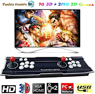 XFUNY Arcade Game Console 1080P 3D & 2D Games 2260 in 1 Pandora's Box 70 3D Games 2 Players Arcade Machine with Arcade Joystick Support Expand 6000+ Games for PC / Laptop / TV / PS4 (Stripe)