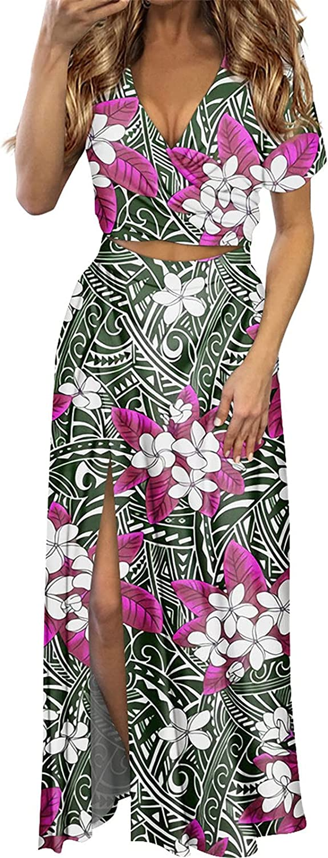 Women Beach Dress 2 Pcs Set Samoa Plumeria Leaf Prints Sexy Female Short Sleeve Summer Dress