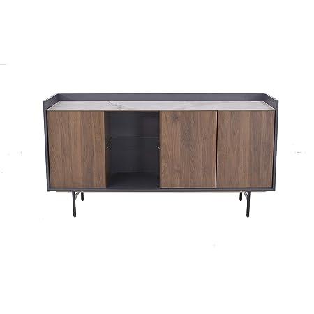 Marque Amazon - Rivet Buffet, 150x45x78cm, Finition noyer/gris