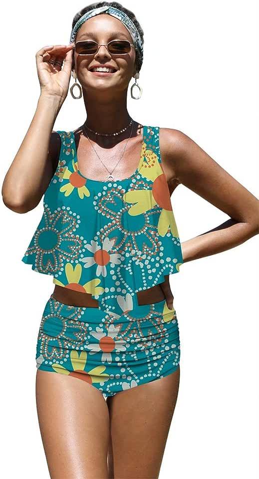 Angerella Womens Classic Beauty Sunflowers Seamless Pattern Flounce Bikinis Push up Swimsuits, S-8