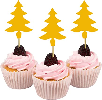 Darling Souvenir Christmas Tree Cupcake Toppers, Dessert Decorations - Pack of 40
