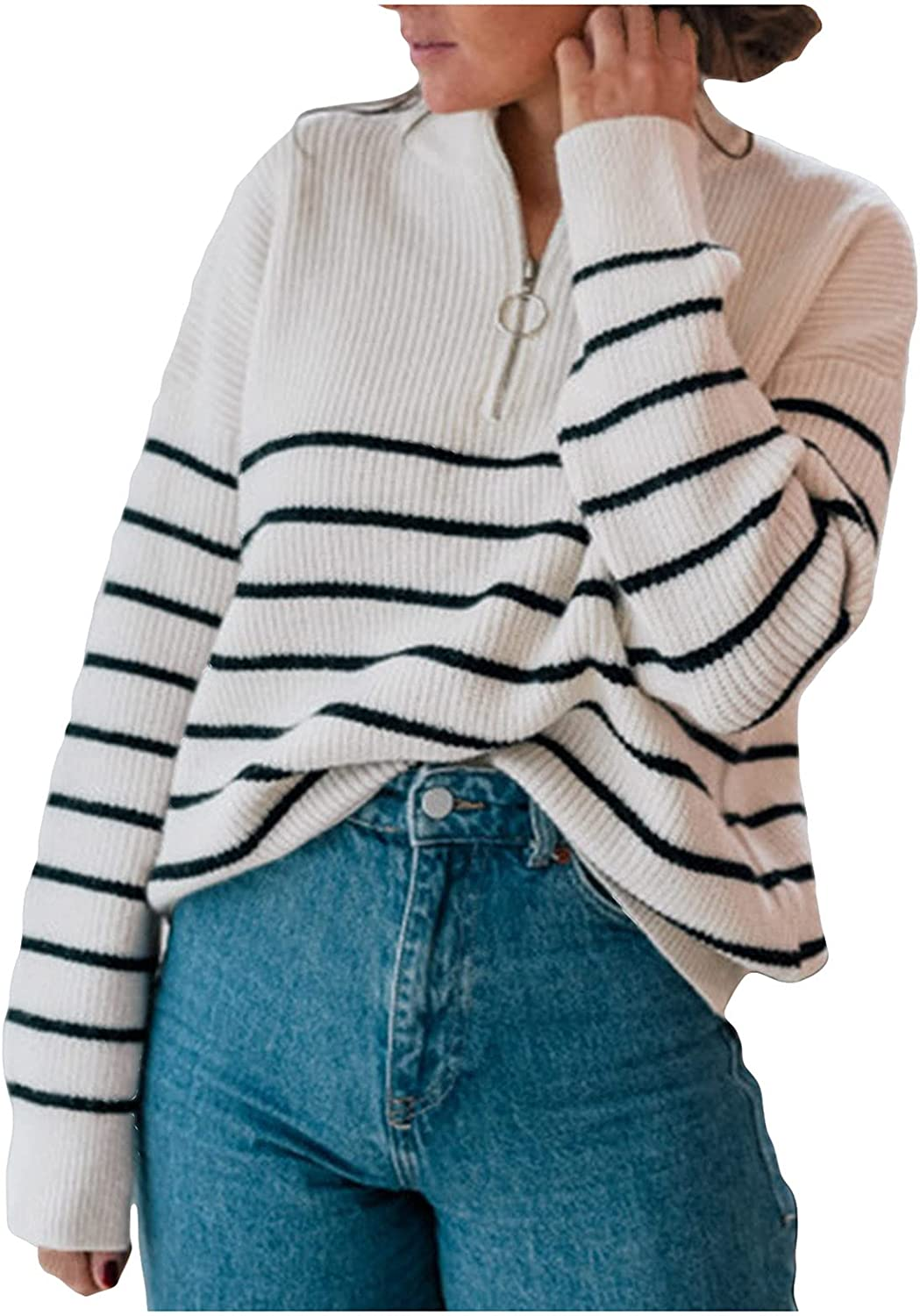 Winter Sweater for Women Long Sleeve Crewneck Knit Sweater Casual Turtleneck Striped Sweaters Loose Pullover Tops