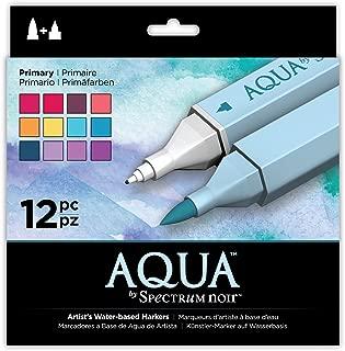 Spectrum Noir SPECN-AQ12-PRI Aqua Artist's Water Based Dual Nib Marker Coloring Pens, Primary, Pack of 12
