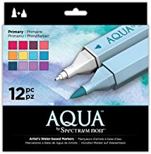 Spectrum Noir Aqua Artist's Water Based Dual Nib Marker Colouring Pens, Primary, Pack of 12, 19 x 18.4 x 2.1 cm