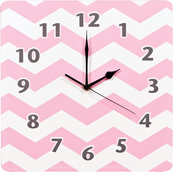 Trend Lab Chevron Wall Clock Pink Sky