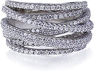 Lavish Rhodium Plated Sterling Silver Intertwined Design CZ Right Hand Ring 13.5mm