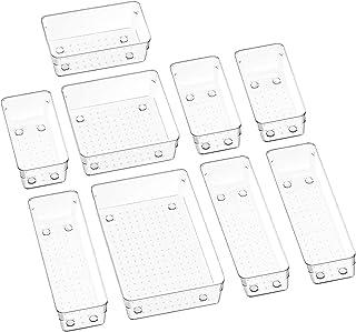 Puricon 9 Pcs Desk Drawer Organizers Trays Set Clear Plastic Storage Bins Bathroom Drawer Tray Dividers Vanity Trays Organ...