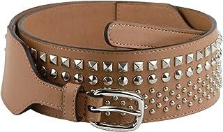 ac3c8199e Gucci Women's Studded Skinny Silver Buckle Beige Leather Belt 388985 2754