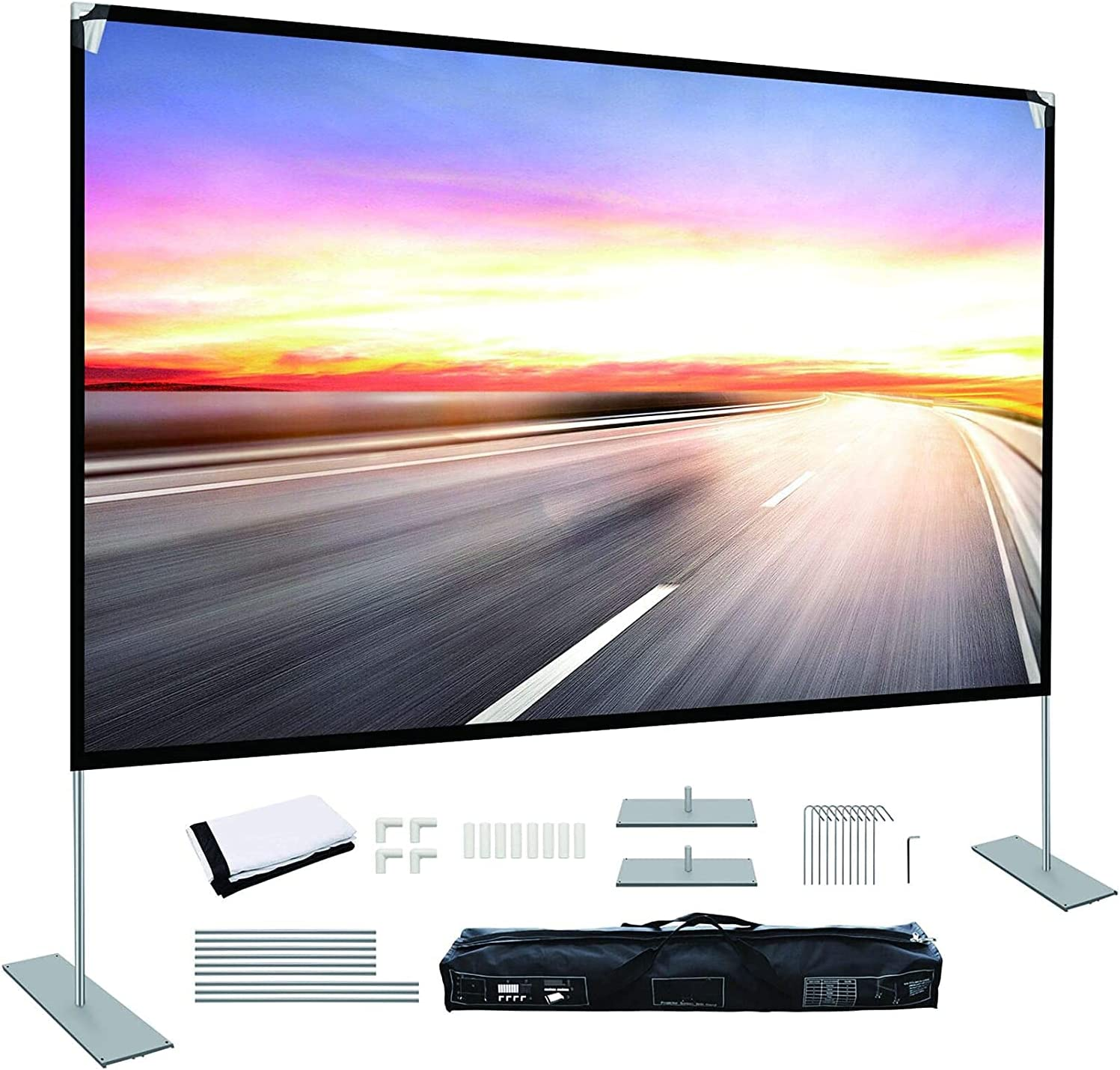 Projector Screen with Stand 100 inch Portable Projection Screen 16:9 4K HD Rear Front Projections Movies Screen for Indoor Outdoor Home Theater Backyard