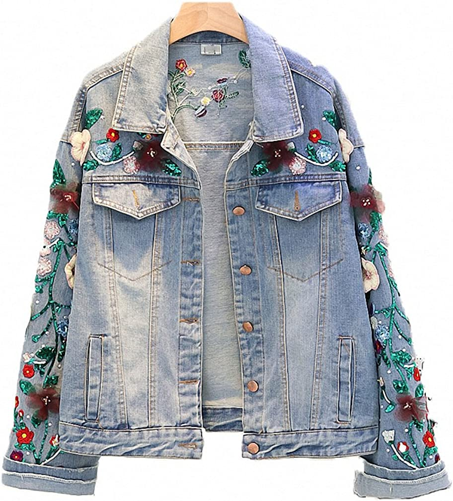 Womens Denim Jacket Heavy Bead Embroidered Sequins Short Loose Coats