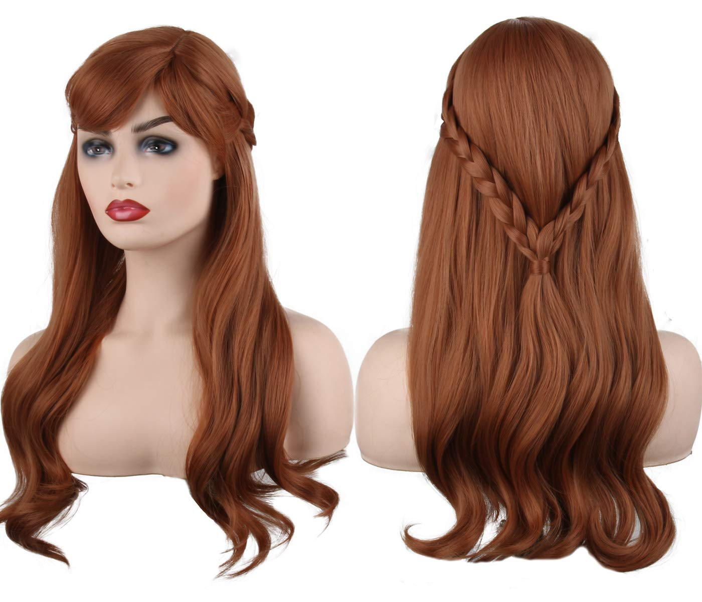 Cosplay Regular dealer Princess Wigs Long Curly Brown San Francisco Mall Women for Bangs with