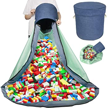60 Inch Large Kids Playbag Portable Foldable Mattress Toy Organizers Pouch With Drawstring For Easy Clean-Up For Storing Small Medium And Large Size(Green) Childrens Play Mat And Toys Storage Bag