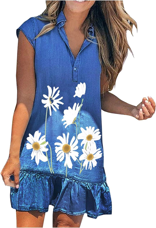 YUNDAN Women's Denim Shirt Dresses V Neck Short Sleeve Distressed Jean Dress Floral Print Casual Tunic Top Dress