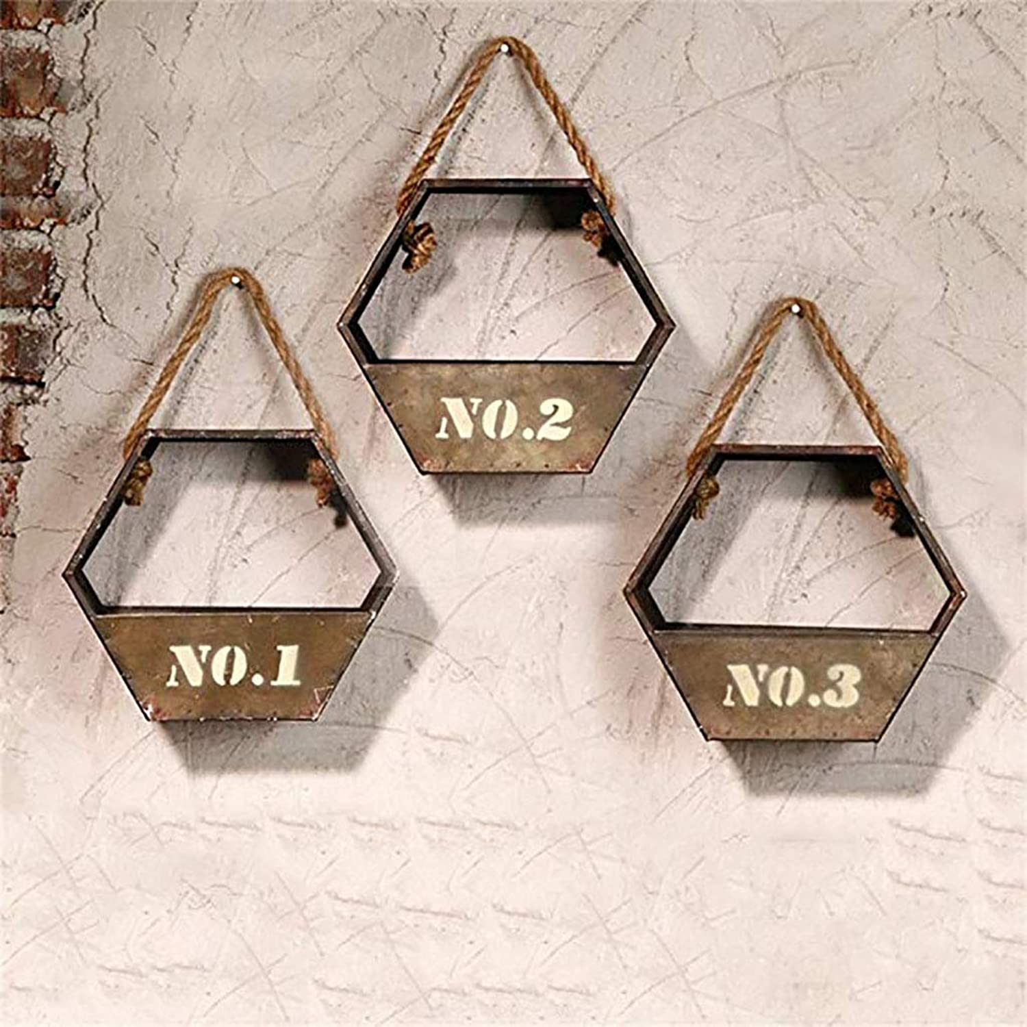 Vintage Style Wall Frame Combination Hexagonal Basket Shape with Hemp Rope Iron Metal Material Flower Stand for bar Living Room Bedroom Shelf Storage