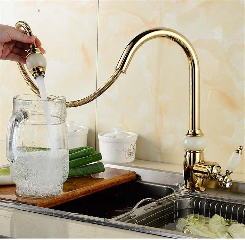 Küche mit herausziehbarer Dual-Spülbrause,Kaltes und Heies Wasser Vorhanden Messingt Robinet de cuisine en cuivre antique or pull-type jade robinet robinet mitigeur chaud froid évier doré