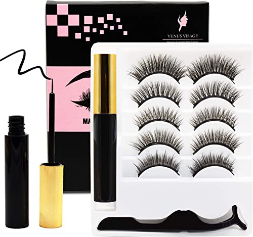 Venus Visage Upgraded Magnetic Eyeliner and Eyelashes Kit, Magnetic Eyelash with Eyeliner, False Lashes 5 Pairs with ...