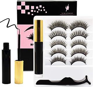 Venus Visage Upgraded Magnetic Eyeliner and Eyelashes Kit, Magnetic Eyelash with Eyeliner, False Lashes 5 Pairs with Tweez...