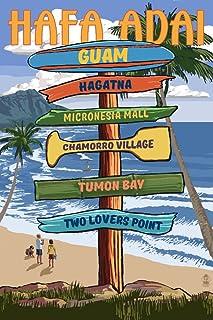 Hafa Adai, Guam - Destination Signpost (12x18 Art Print, Wall Decor Travel Poster)