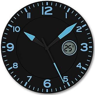 FISHTEC ® Horloge Murale Design Moderne - Pendule avec Température Digitale - Convient pour la Cuisine, Bureau, Salon - 25...