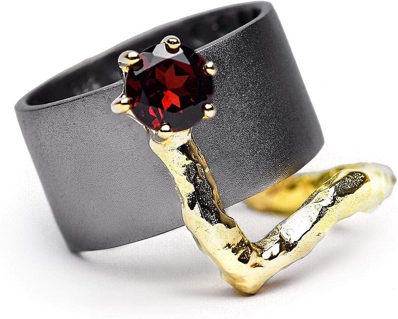 german kabirski 1 Carat Red Garnet store Popular Barrel Ring 925 S Handmade in