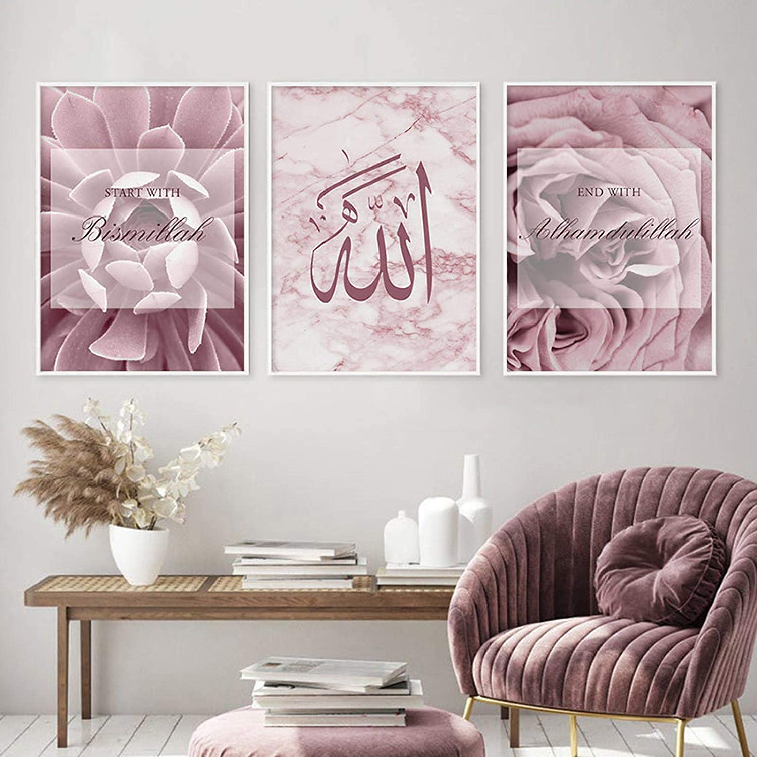 KELEQI ! Super beauty product restock quality top! Islamic Wall Art Rose Gold Pa Marble Canvas Modern Outlet SALE Floral