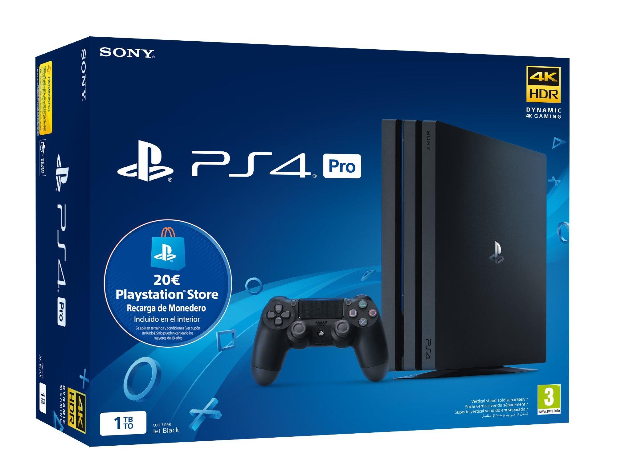 Sony Playstation 4 Pro (PS4) Consola de 1TB + 20 euros Tarjeta Prepago (Edición Exclusiva Amazon) - nuevo chasis G: Amazon.es: Videojuegos