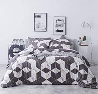 SUSYBAO 3 Pieces Duvet Cover Set 100% Natural Cotton Queen Size White Marble Print Bedding with Zipper Ties 1 Grey Geometric Pattern Duvet Cover 2 Pillow Cases Hotel Quality Soft Comfortable Durable
