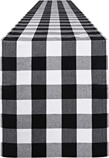 Syntus 14 x 108 inch Buffalo Check Table Runner Cotton-Polyester Blend Handmade Black and..