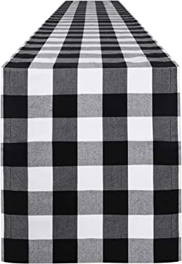 Syntus 14 x 108 inch Buffalo Check Table Runner Cotton-Polyester Blend Handmade Black and White Plaid for Family Dinner, Outd