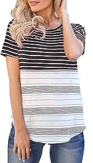 Women's Summer Short Sleeve Color Block Tunic Blouses Stripe Shirts