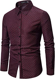 SPE969 Men's Button Down Solid Shirt,Ethnic Style Vintage Floral Printing Long Sleeve Loose Designer Shirts