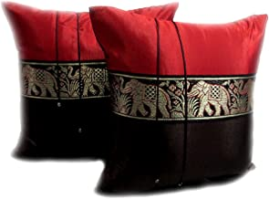 One Pair:beautiful & Cool Big Elephants Throw Cushion Cover/pillow Case Handmade By Thai Silk for Decorative Sofa, Car and Living Room Size 16 X 16 Inches