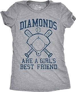 Womens Diamonds are A Girls Best Friend Tshirt Funny Cute Baseball for Ladies