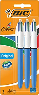 BIC 4 Colours Original Retractable Ball Pen Medium Point (1.0 mm) - Pack of 3 Pens