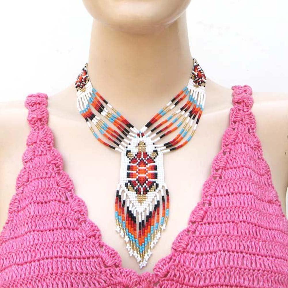 VivaApparel Handmade RED White Golden Seed Beaded Turtle Bead Work Lariat Necklace Earrings Set N23/1