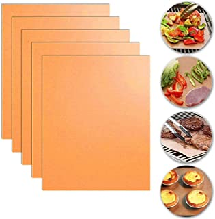 ELECDON 5pcs Non-Stick Reusable BBQ Grill Mat Pad, Outdoor Picnic Cooking Barbecue Tool, Easy Clean and Easy Use on Gas, C...