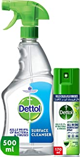 Dettol Surface Cleanser Spray 500 ml + Dettol Morning Dew Antibacterial All in One Disinfectant Spray Mini (Kills 99.9% of...