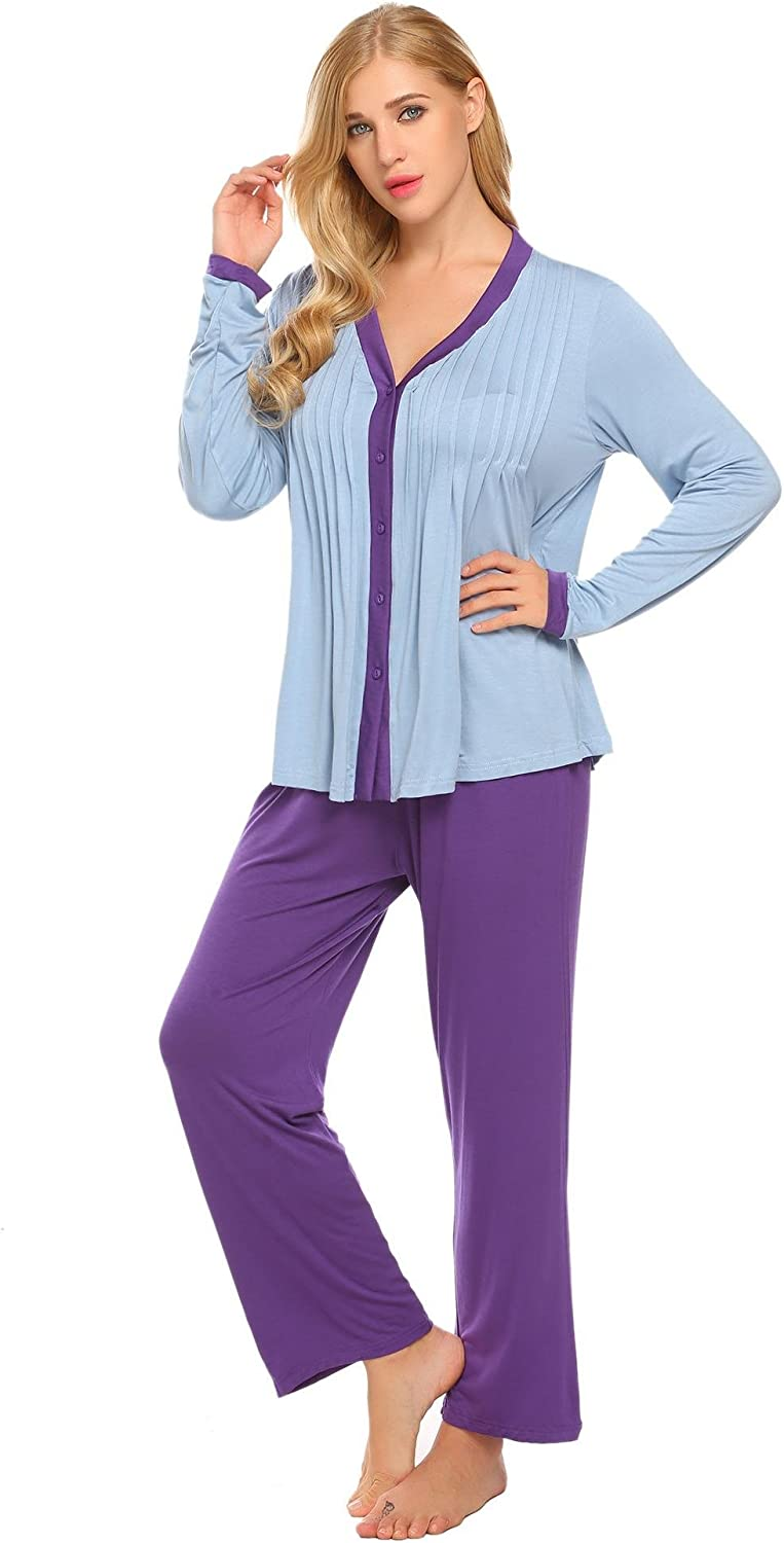 L'amore Womens Modal 2piece Sleepwear Round Neck Long Sleeve Pants Casual Pajama Set