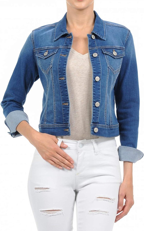 FASHION BOOMY Women's Classic online shopping Denim Popular standard Jean Long Cropped S - Jacket
