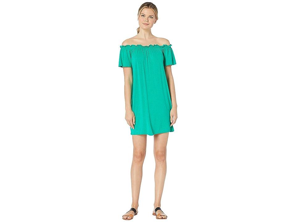 Bobeau Off the Shoulder Knit Dress (Kelly Green) Women